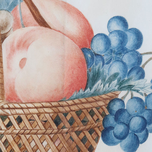 American New England Watercolor Painting on Paper Theorem, Fruit Basket