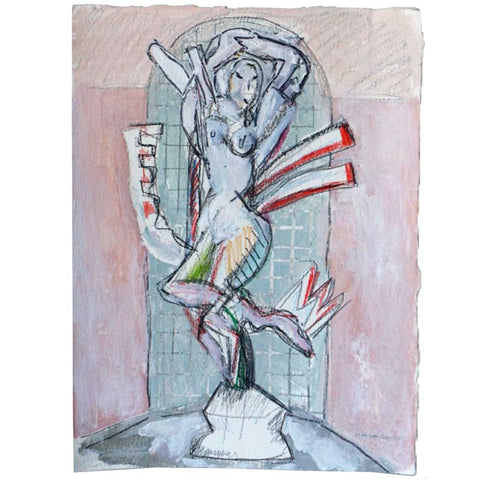 MARTHA DANIELS Mixed Media Watercolor, Pencil and Gouache Drawing, Nude Statue