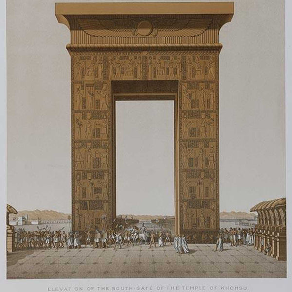 Chromolithograph, Karnak, Elevation of the South-Gate of the Temple of Khonsu, Egypt