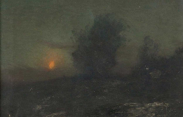 American CHARLES HAROLD DAVIS Oil on Canvas Painting, Moonlit Landscape