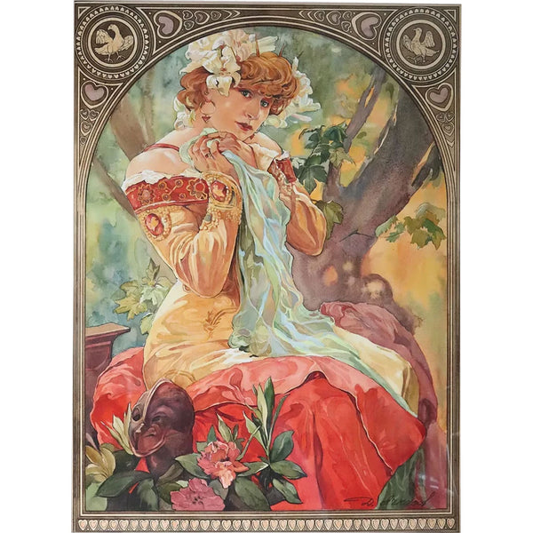 After Alphonse Mucha Watercolor on Paper, Sarah Bernhardt Lefevre-Utile