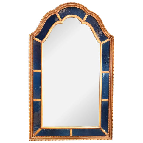 American Clausen Arched Gilt and Blue Glass Mirror