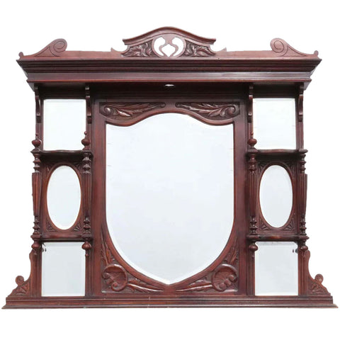 English Victorian Rosewood Overmantel Beveled Mirror