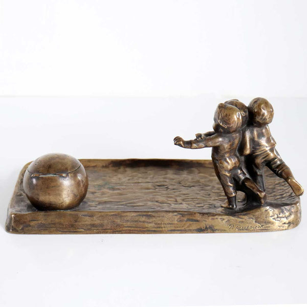 Viennese PETER TERESZCZUK Patinated Bronze Figural Inkstand with Children Playing