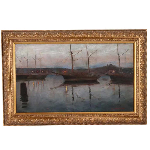 ALGOT RINGSTROM Oil on Artist Board Painting, Sailboats Moored at Sunset
