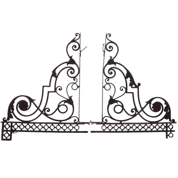 Pair of Large French Louis XIV Style Forged Iron Porch Lantern Brackets