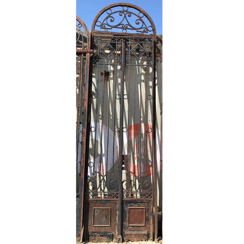Tall French Beaux Arts Wrought Iron Double Door and Transom
