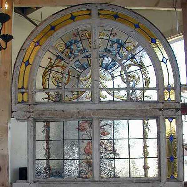 Tall Stained Glass Window with Arched Transom