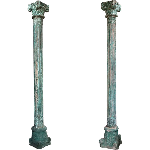 Pair of Anglo Indian Green Painted Teak and Limestone Columns