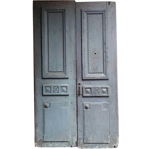 French Provincial  Louis XVI Painted Solid Oak Chateau Double Door