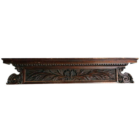 Neoclassical Solid Mahogany Architectural Cornice Panel