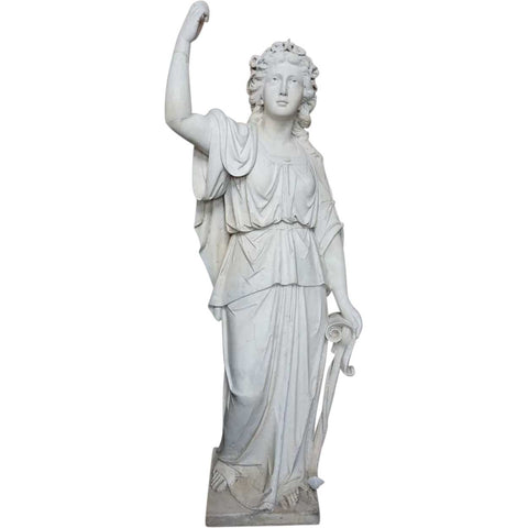 American Neoclassical White Marble Garden Statue of Hope