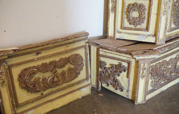 Rare Signed Indo-Portuguese Baroque Painted Teak Architectural Wall Shrine
