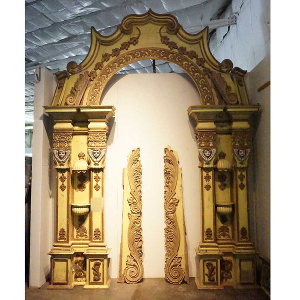 Indo-Portuguese Baroque Painted Architectural Wall Shrine