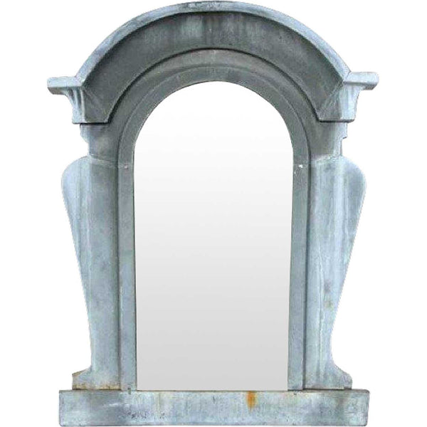 French Industrial Zinc Arched Mansard Window Beveled Mirror Frame