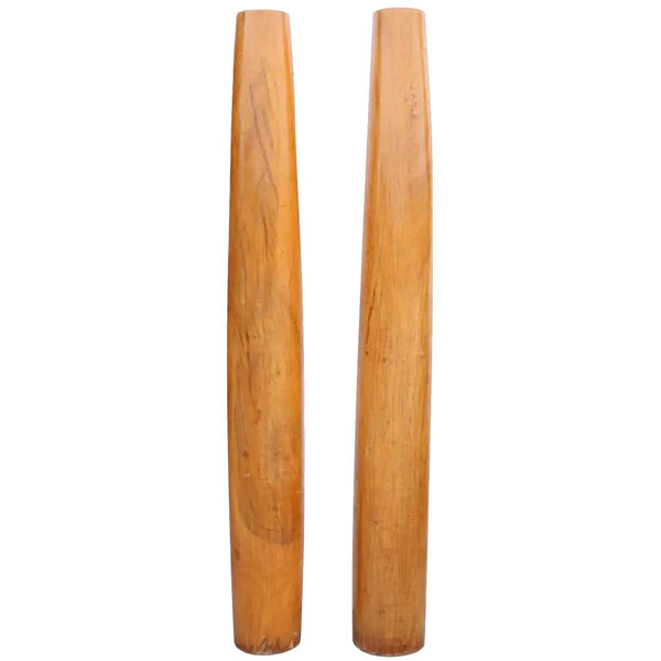Pair of Indian Solid Satinwood Architectural Columns