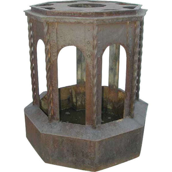 Large American Victorian Cast and Wrought Iron Sculpture Base or Garden Pedestal