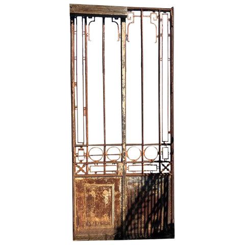 French Beaux Arts Iron and Glass Pane Arboretum Double Door