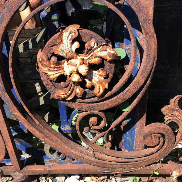 Large Argentine Wrought Iron and Painted Building Lantern / Sign Bracket