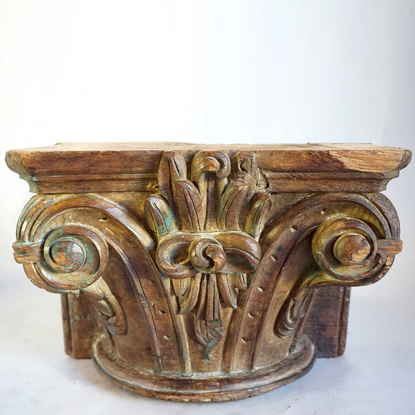 Indian Solid Teak Architectural Pilaster Capital