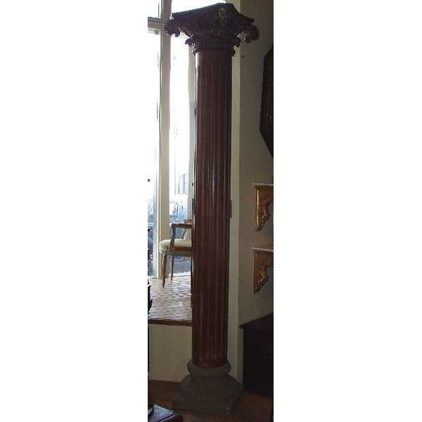 Pair of Anglo Indian Teak and Stone Base Pillars