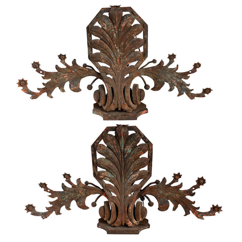 Pair of French Wrought Iron Architectural Elements as Sconces