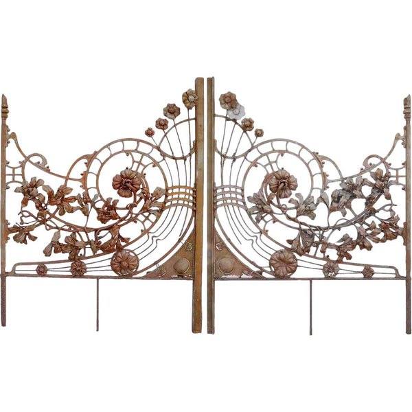 Fine Italian Liberty / Art Nouveau Wrought Iron Double Door Gate