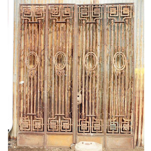 Large French Wrought Iron Four-Panel Double Door Gate