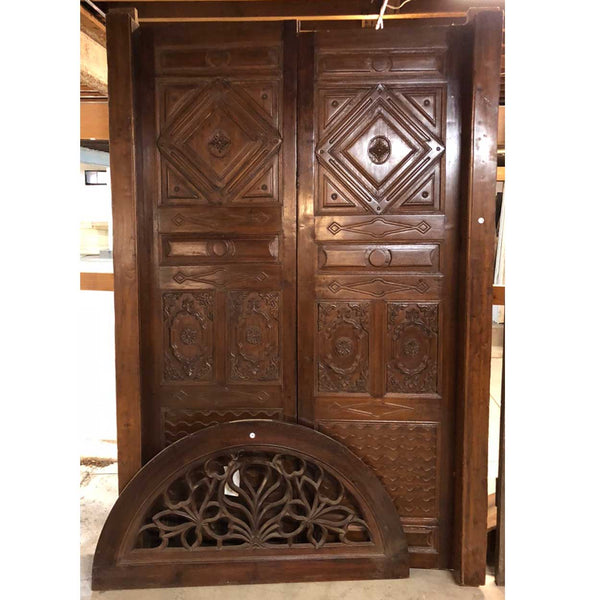 Indo-Portuguese Teak Double Door with Frame and Transom
