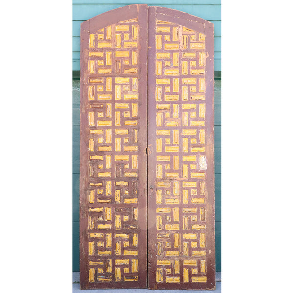 Large Moorish Painted Pine Arched Double Door