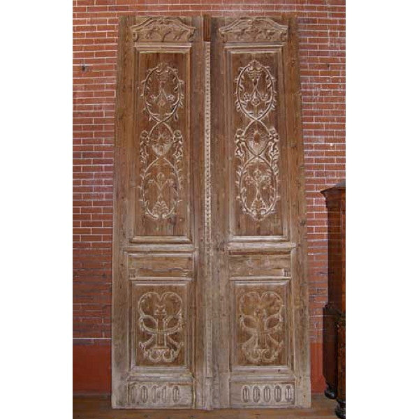 Monumental French Colonial Pine Double Door