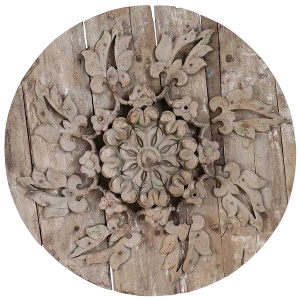 Large Indo-Portuguese Ceiling Medallion with Iron Hook