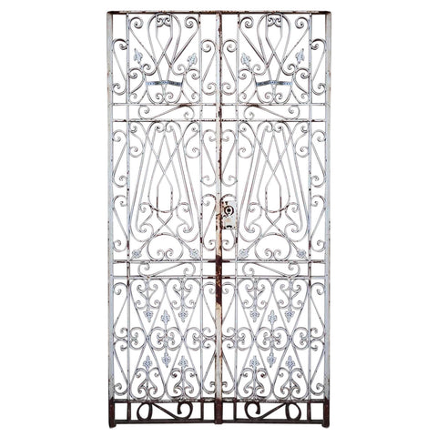 French White Painted Wrought Iron Double Door Gate