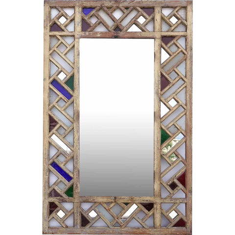 Large Moorish Pine and Colored Glass Fretwork Mirror