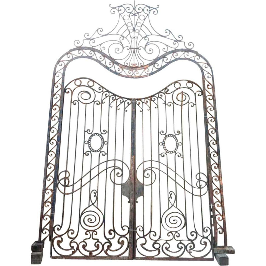 Antique Large French Colonial Wrought Iron Double Door Gates with ...