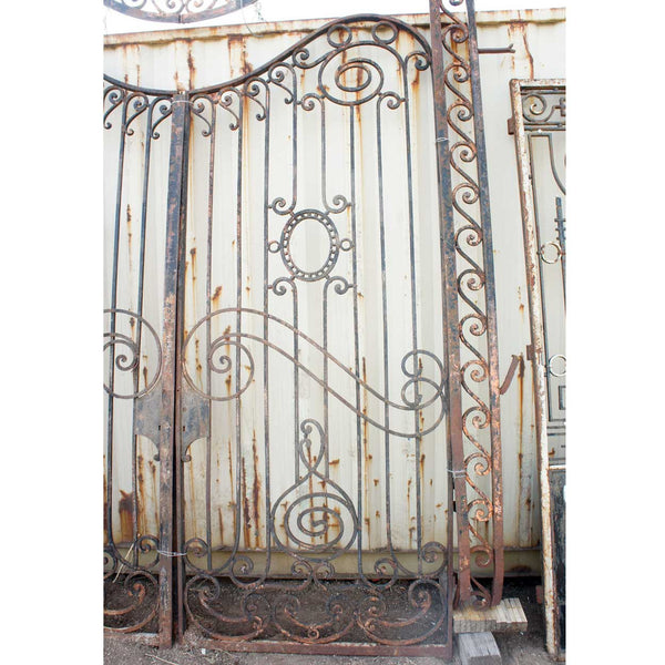 Important Large French Beaux Arts Wrought Iron Double Door Gates with Frame and Transom