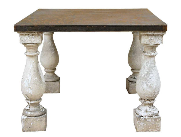 American Salvaged Architectural Baluster Steel Top Table