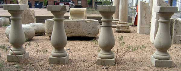 Set of Four American Limestone Balusters