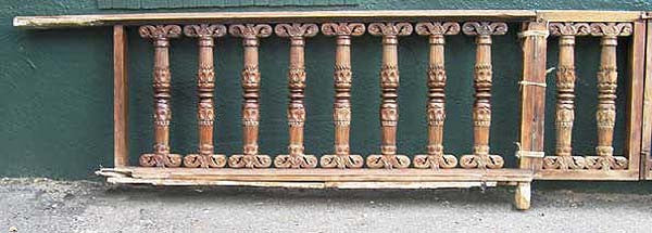 Pair of Indo-Portuguese Teak Gates and Baluster Railings
