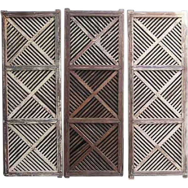 Set of Four Anglo Indian Teak Fretwork Panels