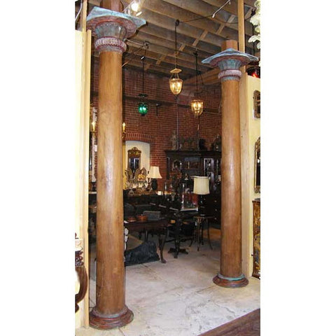 Pair of Large Burmese Teak Pillars