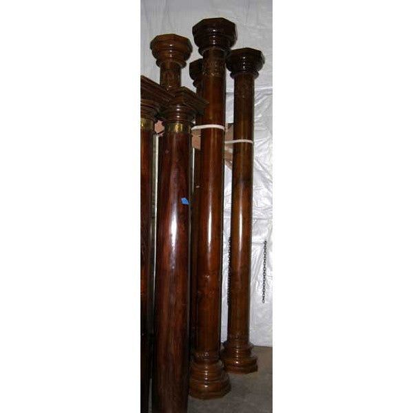 Pair of Indian Tall Teak Pillars