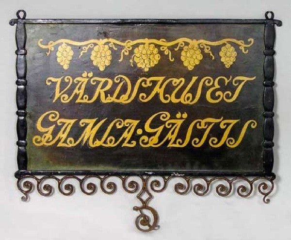 Swedish Painted Iron Bracket Building Trade Sign