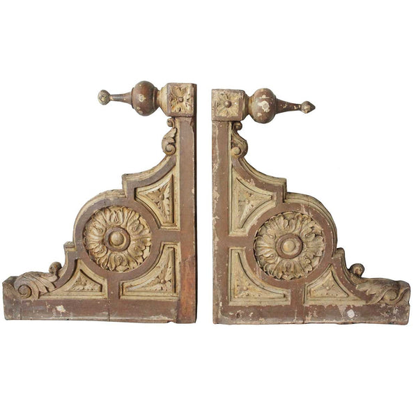 Pair of English Victorian Painted Teak Porch Corbel Architectural Brackets