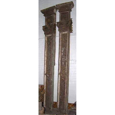 Large Indo-Portuguese Gesso and Teak Pilasters