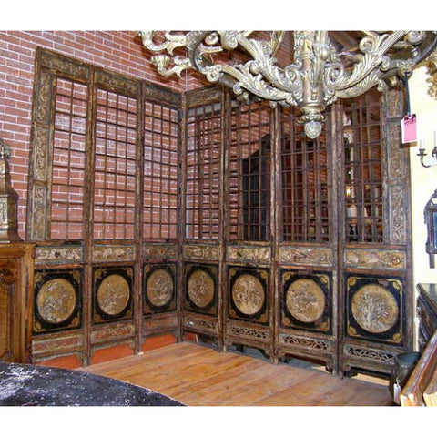 Large Chinese Lacquered 12-Panel Floor Screen