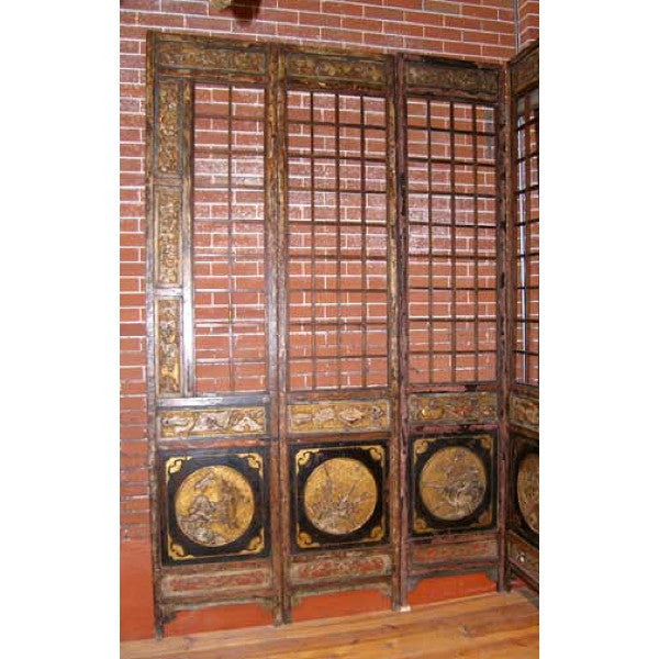 Chinese Lacquered 12-Panel Floor Screen
