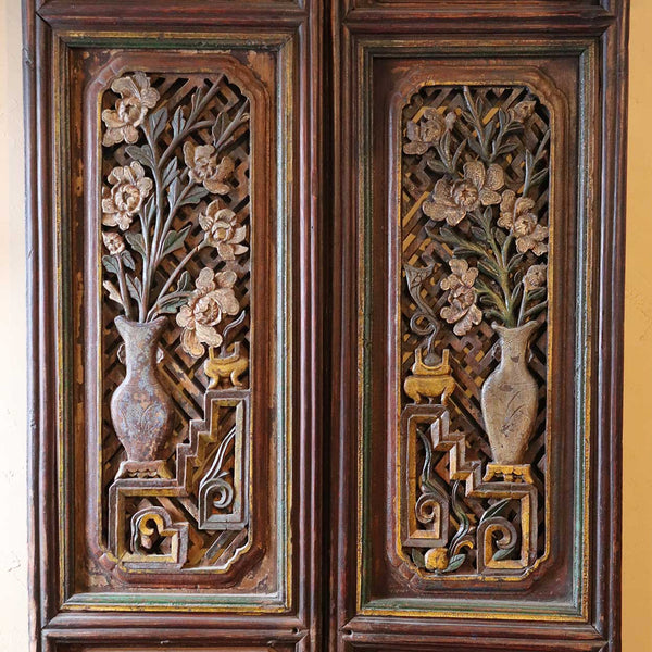 Chinese Shanxi Province Painted Elm Four-Panel Room Screen