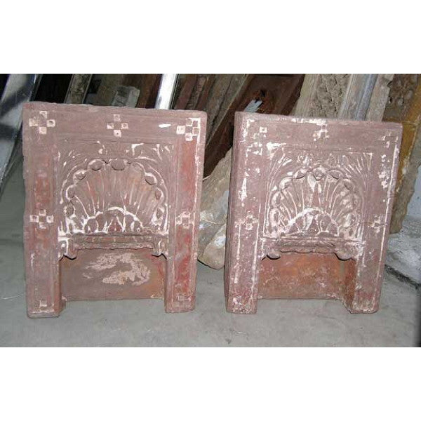 Pair of Indian Red Sandstone Architectural Shrine Niches