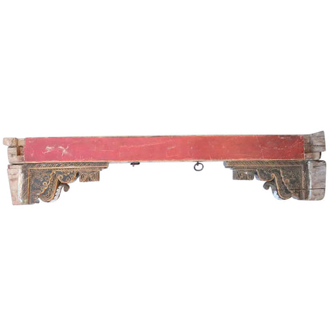 Indian Painted Teak Architectural Beam